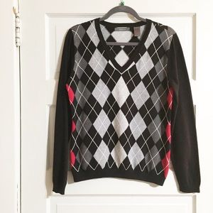 Liz Claiborne Black/Red Argyle V-Neck Sweater- L